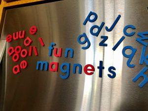 foam fun words on fridge