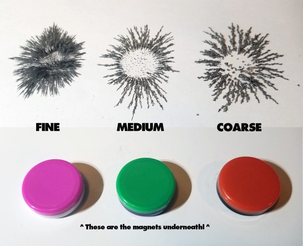 fine medium coarse iron filings