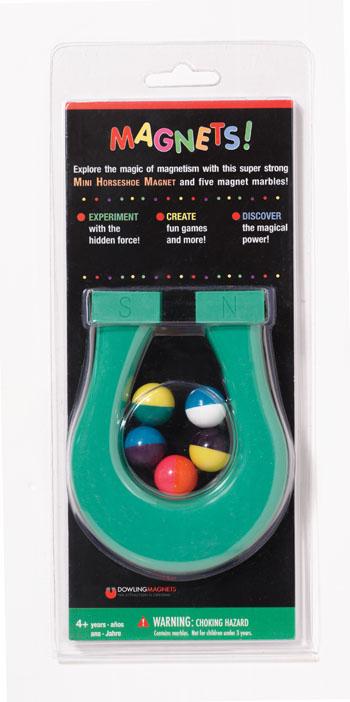 Mini Horseshoe Magnet, 5 Magnet Marbles