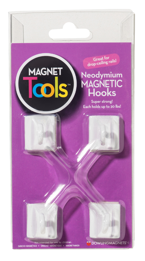 Neodymium Magnetic Hooks, Set of 4