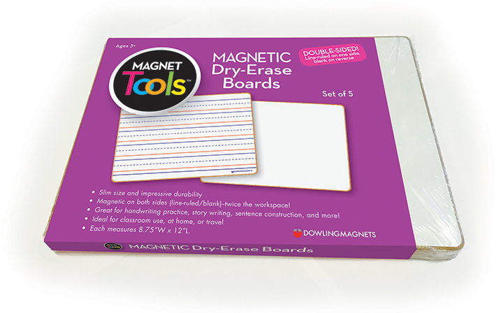 Magnetic Dry-Erase Boards (double-sided ruled/blank), Set of 5