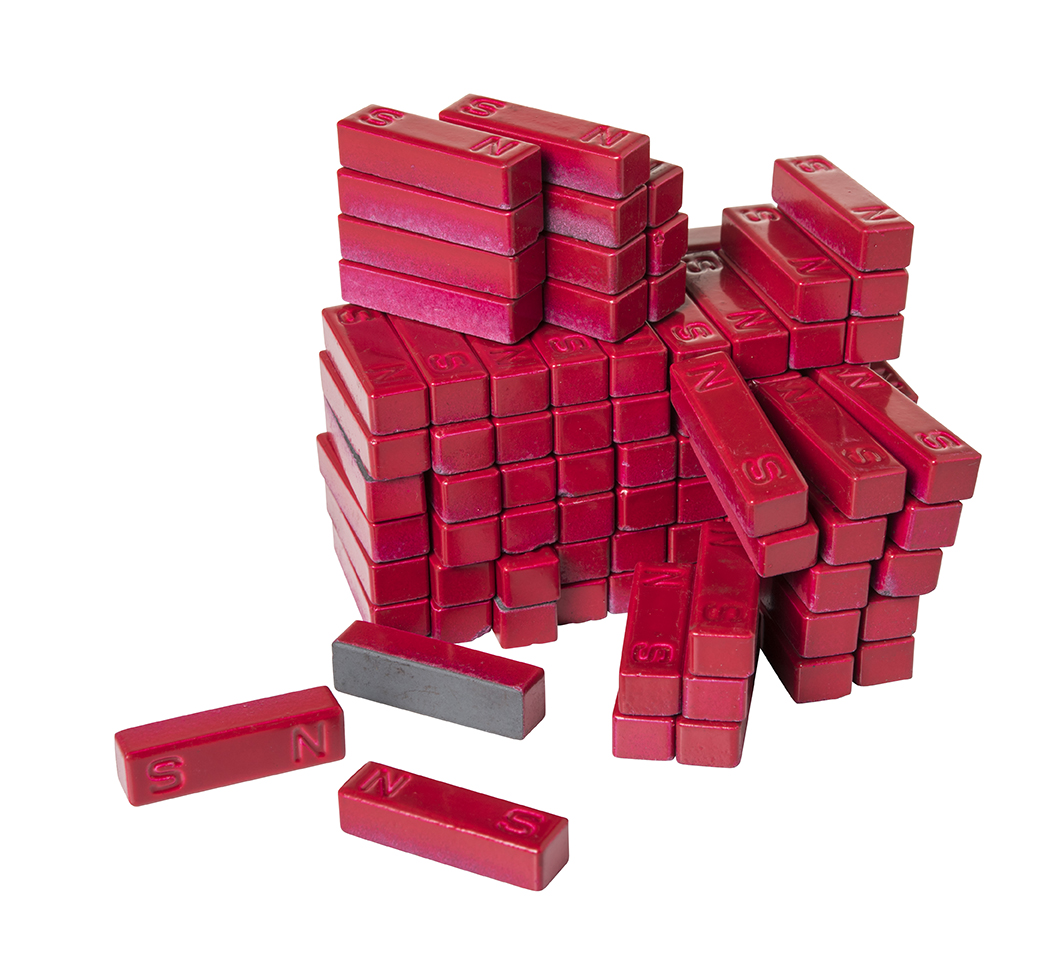 Red Ceramic Bar Magnets Pack of 100 marked N/S