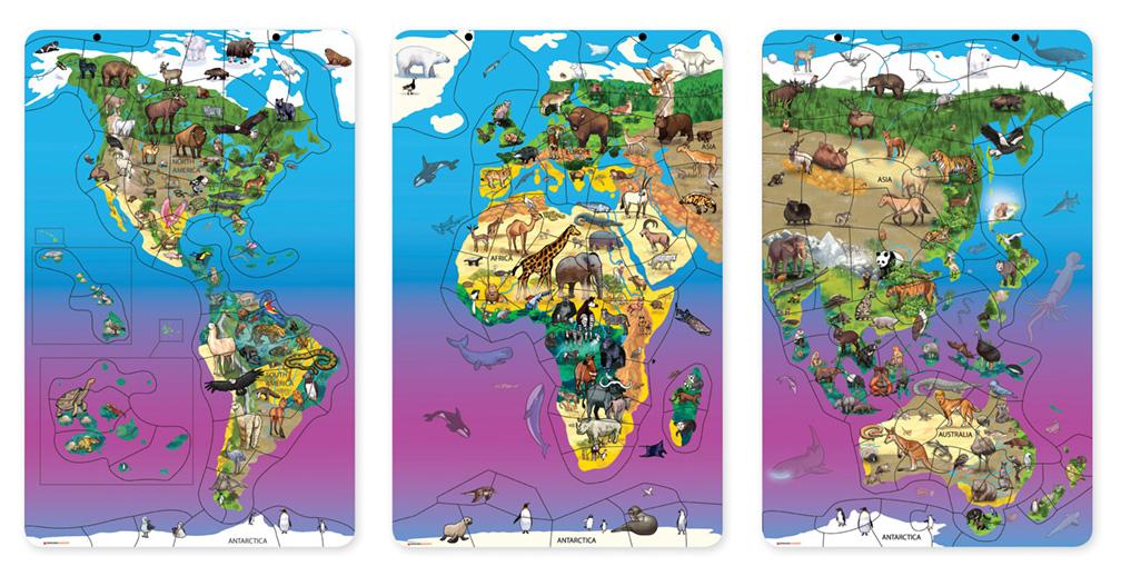 Magnetic Wildlife Map Puzzle Bundle, Set of 3